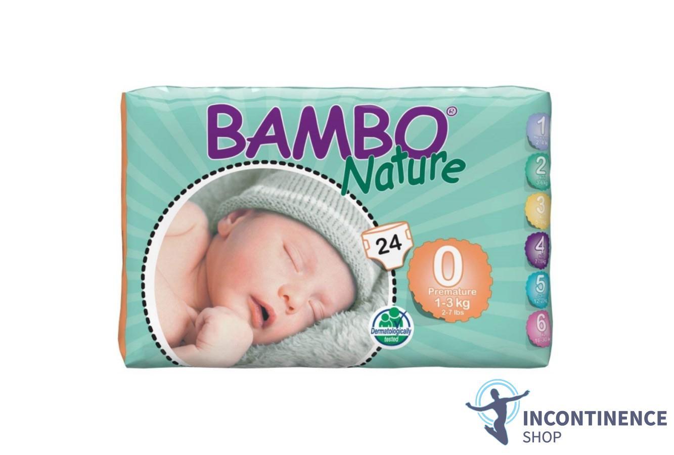 Premium Eco-Nappies 28 pieces per 4-9lb // 2-4kg Bambo Nature New Born Size 1