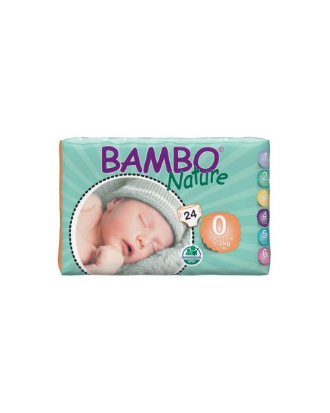 Bambo Nature Size 0 - Premature (1-3kg) - Pack of 24