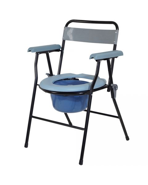 Drylife Lightweight Steel Folding Commode Toilet with 7 Litre Bucket