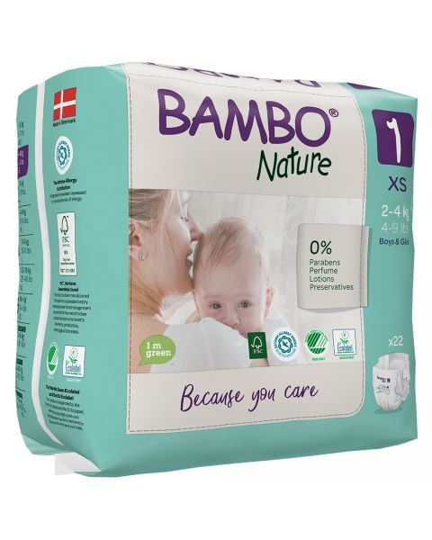 Bambo Nature Size 1 - Extra Small (2-4kg) - Pack of 22