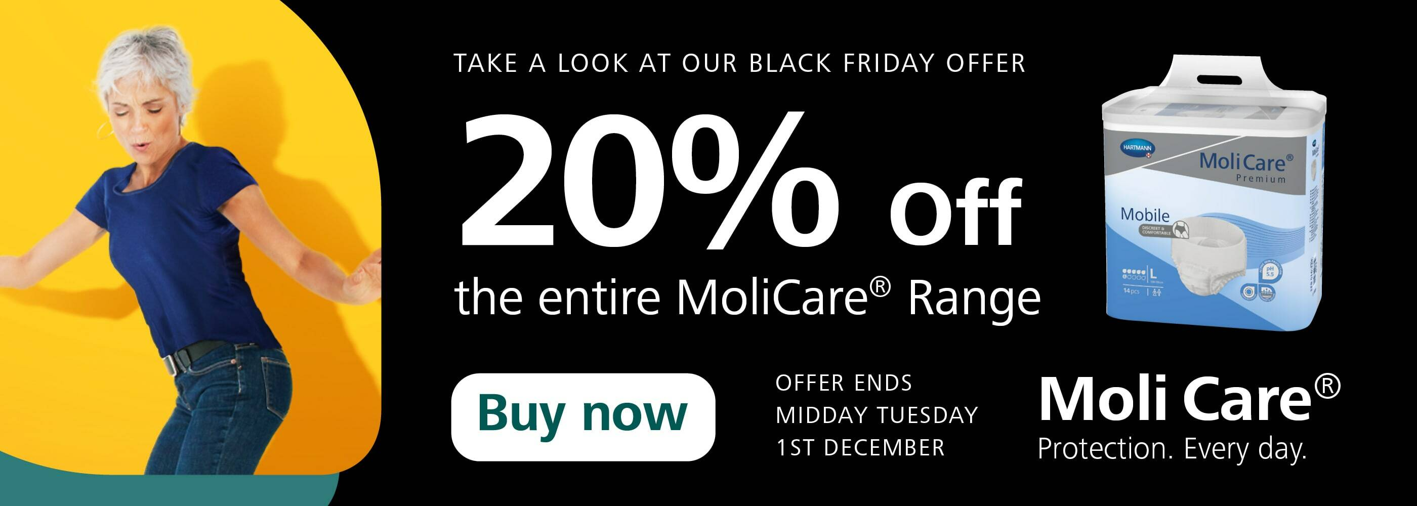 Black Friday - Save 20% MoliCare!